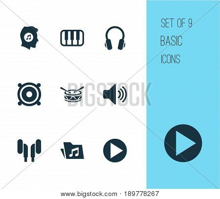 Multimedia Icons Set. Collection Of Dossier, Earphone, Octave And Other Elements. Also Includes Symbols Such As Earphone, Dossier, Lover.