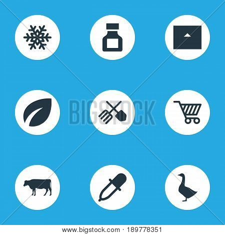 Vector Illustration Set Of Simple Harvest Icons. Elements Pesticide, Poultry, Horticulture Equipment And Other Synonyms Frost, Pipette And Bottle.