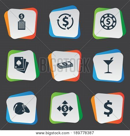 Vector Illustration Set Of Simple Roulette Icons. Elements Vinyl Music, Club House, Dollar Swap And Other Synonyms Cocktail, Dollar And Flow.