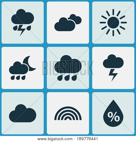 Climate Icons Set. Collection Of Colors, Lightning, Nightly And Other Elements. Also Includes Symbols Such As Cold, Weather, Lightning.
