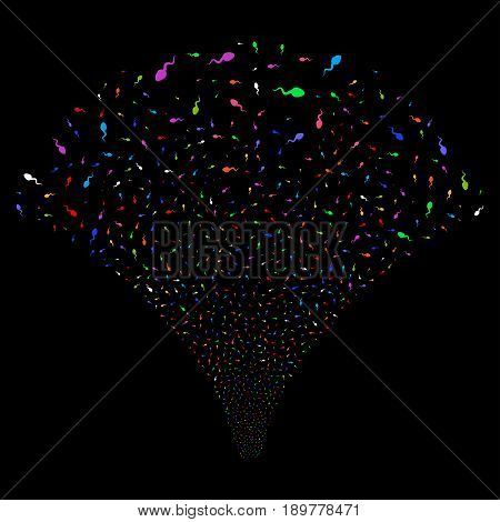 Spermatozoon salute stream. Vector illustration style is flat bright multicolored iconic symbols on a black background. Object stream fountain done from random pictograms.