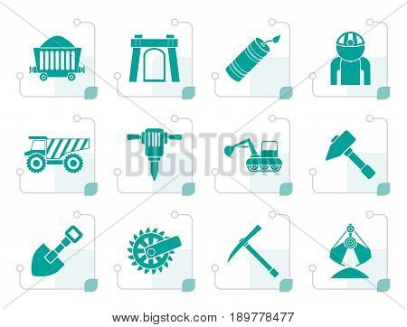 Stylized Mining and quarrying industry objects and icons - vector icon set