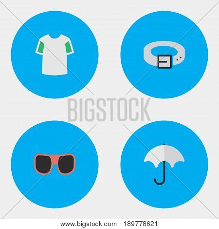 Vector Illustration Set Of Simple Instrument Icons. Elements Strap, Eye Accessory, Jersey And Other Synonyms Rain, Jersey And Wear.