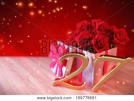 birthday concept with red roses in the gift on wooden desk. 3D render - twenty-seventh birthday.27th
