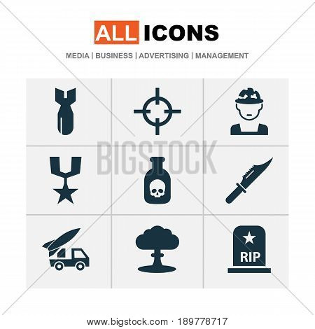 Warfare Icons Set. Collection Of Cutter, Rocket, Order And Other Elements. Also Includes Symbols Such As Ordnance, Rip, Sniper.