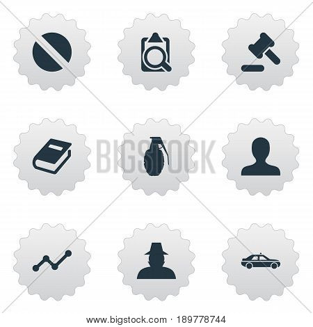Vector Illustration Set Of Simple Police Icons. Elements File, Explode, Hammer And Other Synonyms Book, Tribunal And Automobile.