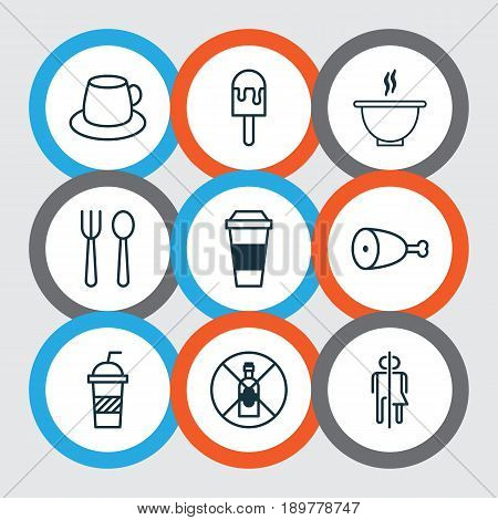Cafe Icons Set. Collection Of Fried Poultry, No Drinking, Soda And Other Elements. Also Includes Symbols Such As Prohibited, Beverage, Eating.