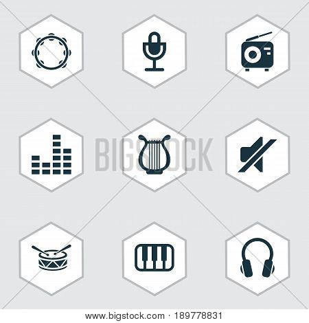 Music Icons Set. Collection Of Mike, Lyre, Tuner And Other Elements. Also Includes Symbols Such As Instrument, Silent, Tambourine.