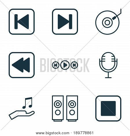 Music Icons Set. Collection Of Gramophone, Audio Buttons, Mike And Other Elements. Also Includes Symbols Such As Dj, Backward, Back.