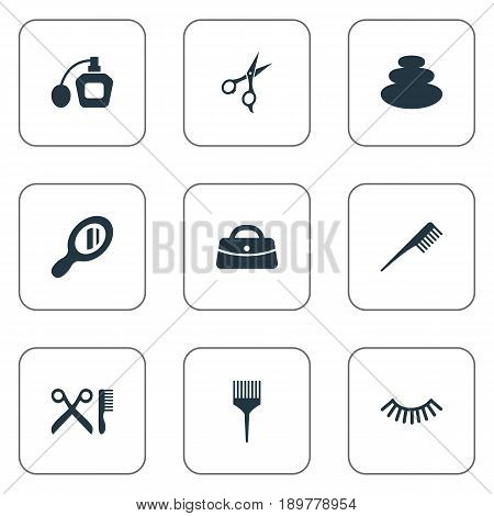 Vector Illustration Set Of Simple Spa Icons. Elements Stone Therapy, Glass, Comb And Other Synonyms Beauty, Brush And Hair.