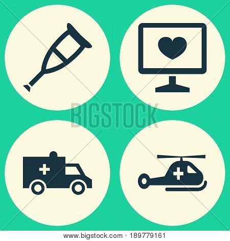 Antibiotic Icons Set. Collection Of Copter, Spike, Bus And Other Elements. Also Includes Symbols Such As Bus, Pill, Care.