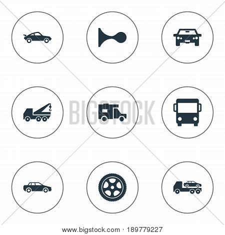 Vector Illustration Set Of Simple Automobile Icons. Elements Carrier, Driving, Tour Bus And Other Synonyms Public, Auto And Retro.