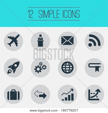 Vector Illustration Set Of Simple Business Icons. Elements Rocket, Increase Graph, Correspondence And Other Synonyms Connection, Portfolio And Business.