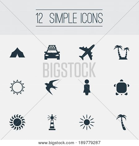Vector Illustration Set Of Simple Beach Icons. Elements Hot, Sunrise, Turtle And Other Synonyms Beacon, Hot And Camping.