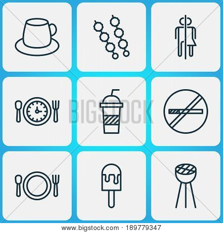Icons Set. Collection Of Coffee Cup, Stick Batbecue, Cutlery And Other Elements. Also Includes Symbols Such As Drink, Cutlery, Restrict.