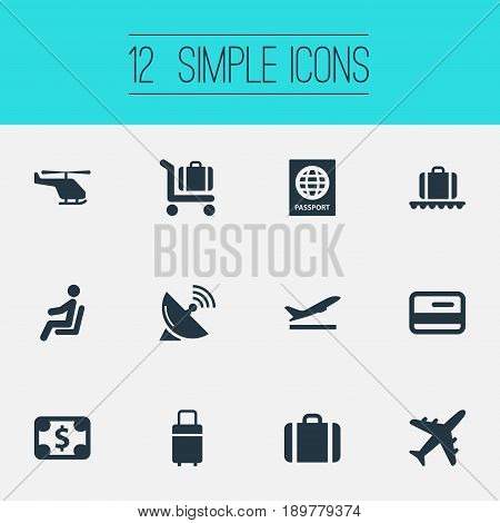 Vector Illustration Set Of Simple Plane Icons. Elements Plane, Certificate Of Citizenship, Handbag Synonyms Flight, Sitting And Baggage.