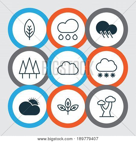Ecology Icons Set. Collection Of Forest, Snowstorm, Tree Leaf And Other Elements. Also Includes Symbols Such As Sun, Forest, Snow.