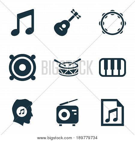 Music Icons Set. Collection Of Music, Instrument, File And Other Elements. Also Includes Symbols Such As Octave, Meloman, Musical.