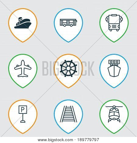 Transport Icons Set. Collection Of Railroad, Transport, Jet And Other Elements. Also Includes Symbols Such As Road, Railroad, Roadsign.