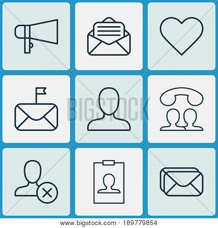 Network Icons Set. Collection Of Follow, Identity Card, Web Profile And Other Elements. Also Includes Symbols Such As Significant, Letter, Identity.