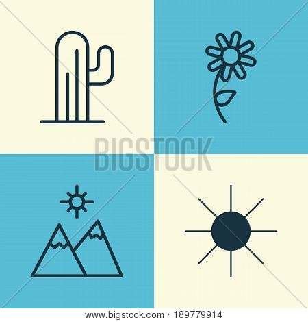 Harmony Icons Set. Collection Of Cactus, Sunflower, Landscape Elements. Also Includes Symbols Such As Mountains, Relief, Cactus.
