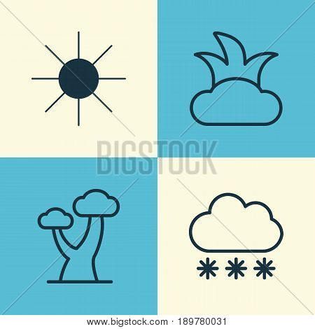 Landscape Icons Set. Collection Of Bush, Snowstorm, Sunshine And Other Elements. Also Includes Symbols Such As Snow, Sunshine, Plant.