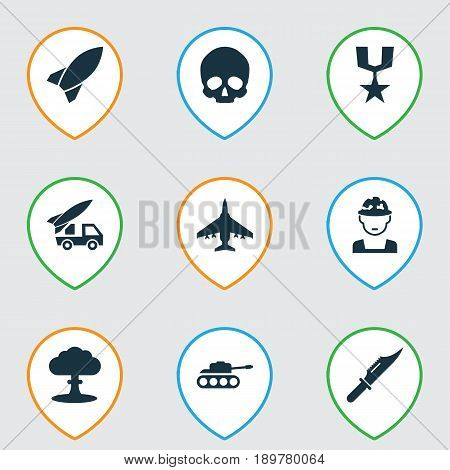 Battle Icons Set. Collection Of Military, Order, Ordnance And Other Elements. Also Includes Symbols Such As Knife, Missile, Tank.