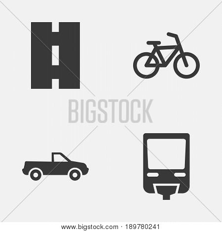 Shipment Icons Set. Collection Of Bicycle, Cabriolet, Railroad And Other Elements. Also Includes Symbols Such As Train, Railroad, Monorail.