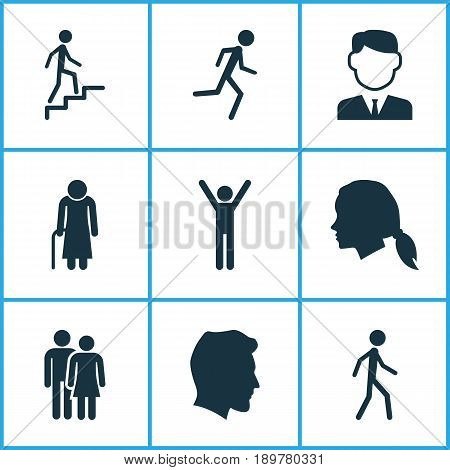 Person Icons Set. Collection Of Male, Running, Jogging And Other Elements. Also Includes Symbols Such As Rejoicing, Gentleman, Male.