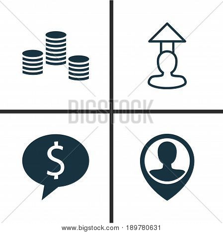 Resources Icons Set. Collection Of Business Deal, Destination, Money And Other Elements. Also Includes Symbols Such As Stacked, Coins, Discussion.