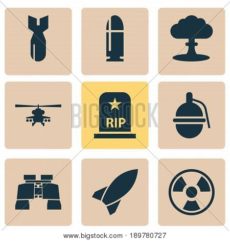 Warfare Icons Set. Collection Of Glass, Chopper, Bombshell And Other Elements. Also Includes Symbols Such As Hazard, Dynamite, Bio.