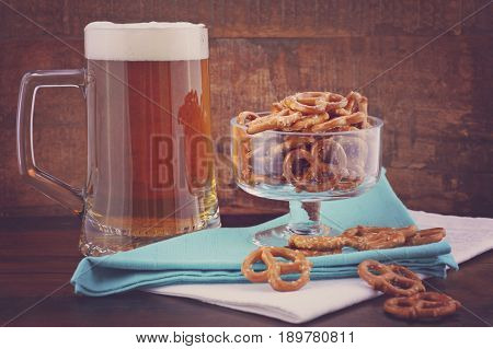 Glass Of Beer In Stein With Mini Pretzels