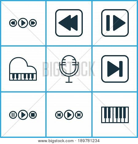 Multimedia Icons Set. Collection Of Music Control, Following Music, Song UI And Other Elements. Also Includes Symbols Such As Microphone, Forward, Control.