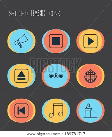 Music Icons Set. Collection Of Note, Run Song Back, Stop Button And Other Elements. Also Includes Symbols Such As Tribune, Back, Ball.