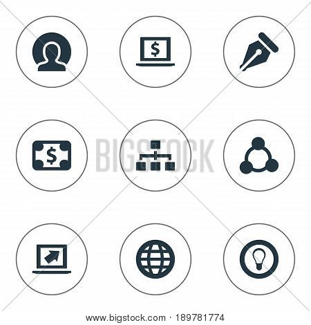 Vector Illustration Set Of Simple Trade Icons. Elements Pay, Nib, Hierarchy And Other Synonyms Laptop, Bill And Financial.
