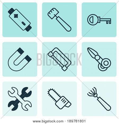 Apparatus Icons Set. Collection Of Clippers, Gasoline Cutter, Alkaline And Other Elements. Also Includes Symbols Such As Magnet, Key, Harrow.