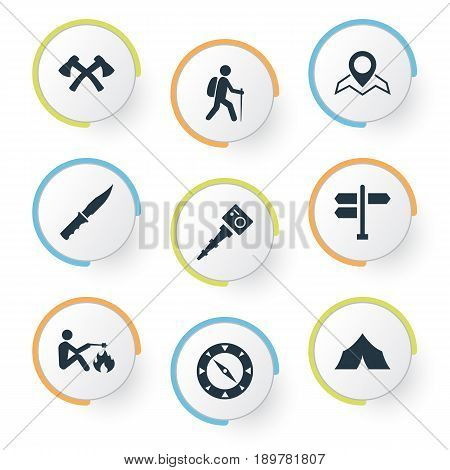 Vector Illustration Set Of Simple Tent Icons. Elements Selfie Stick, Canvas, Picnic And Other Synonyms Portrait, Canvas And Equipment.