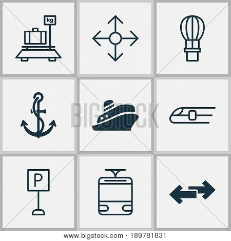 Shipping Icons Set. Collection Of Navigation Arrows, Roadsign, Road Pointer And Other Elements. Also Includes Symbols Such As Baggage, Parking, Hook.