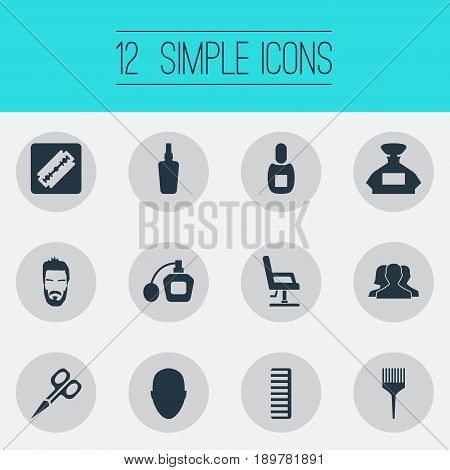 Vector Illustration Set Of Simple Hairdresser Icons. Elements Flask, Cut Tool, Human And Other Synonyms Beauty, Perfume And Clipper.