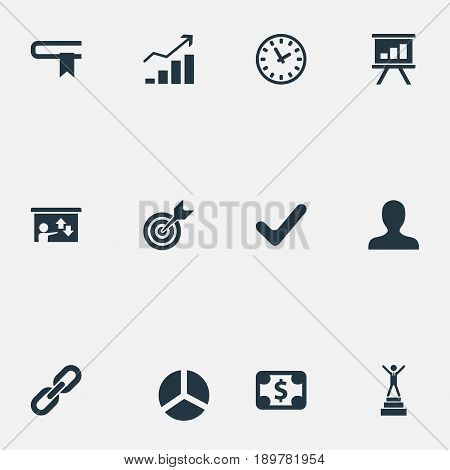 Vector Illustration Set Of Simple Business Icons. Elements Literature, Efficient, Success And Other Synonyms Yes, Efficient And Guidebook.
