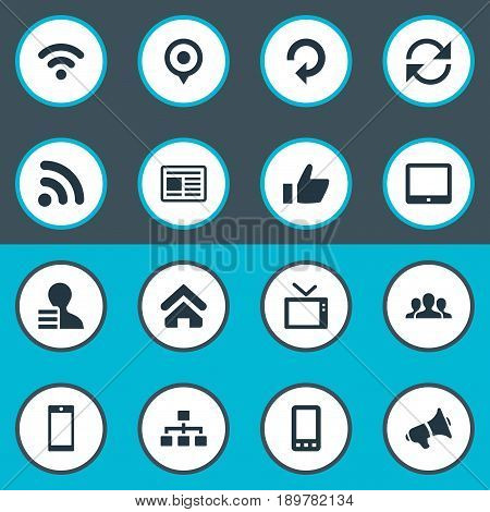 Vector Illustration Set Of Simple Social Icons. Elements Update, Press, Cv And Other Synonyms Point, House And Networking.