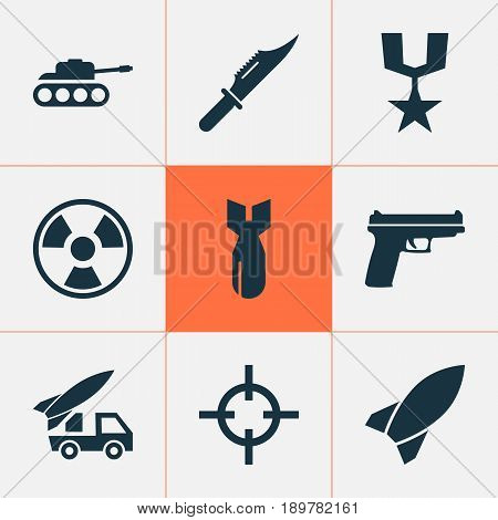 Warfare Icons Set. Collection Of Missile, Ordnance, Rocket And Other Elements. Also Includes Symbols Such As Danger, Hazard, Target.