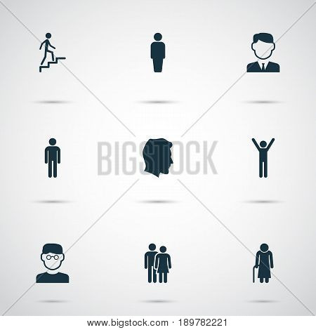 People Icons Set. Collection Of Ladder, Gentleman, Work Man And Other Elements. Also Includes Symbols Such As Smart, Gentleman, Ladder.