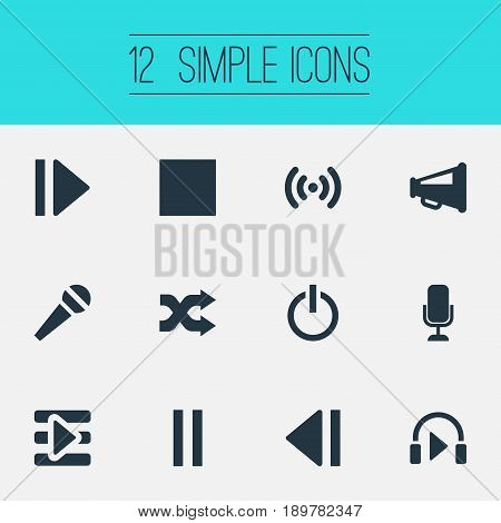 Vector Illustration Set Of Simple Radio Icons. Elements Multimedia Buttons, Speech, Stop And Other Synonyms Radio, Voice And Navigation.