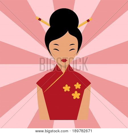 Japanese woman folk-art maiden cute kokeshi beautiful asian character vector. Traditional kimono female charming art fashionable human dressed fashion geisha.