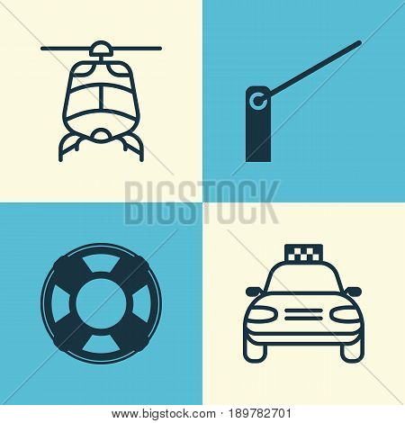 Shipping Icons Set. Collection Of Car Vehicle, Lifebuoy, Chopper And Other Elements. Also Includes Symbols Such As Helicopter, Taxi, Transport.