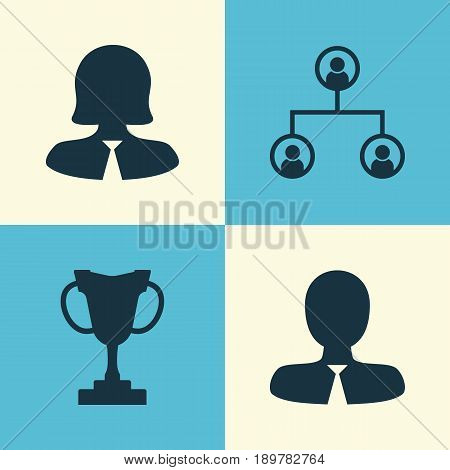 Resources Icons Set. Collection Of Business Woman, Manager, Tournament And Other Elements. Also Includes Symbols Such As Trophy, Organisation, Profile.