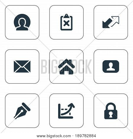 Vector Illustration Set Of Simple Trade Icons. Elements Nib, Padlock, Increase And Other Synonyms Progress, Member And Undone.