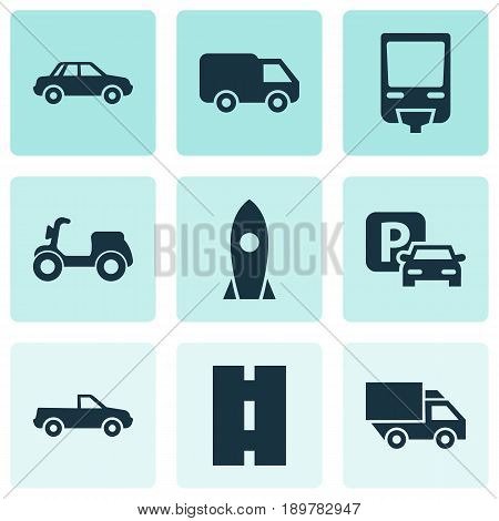 Shipment Icons Set. Collection Of Railroad, Way, Skooter And Other Elements. Also Includes Symbols Such As Parking, Train, Car.