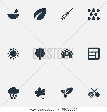 Vector Illustration Set Of Simple Agricultural Icons. Elements Hangar, Syringe, Medicament And Other Synonyms Accounting, Tree And Cloud.